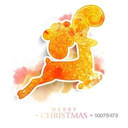 Creative floral design decorated reindeer on colorful splash background for Merry Christmas celebration.