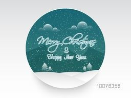 Creative sticky with winter background for Merry Christmas and Happy New Year celebration.