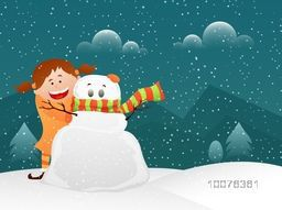 Cute smiling girl with snowman on winter background celebrating and enjoying on occasion of Merry Christmas celebration.