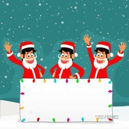 Merry Christmas celebration with cute Santa Clauses waving hands and colorful lights decorated blank board for your message.