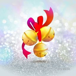 Glossy golden Jingle Bells with ribbon on silver glitter background for Merry Christmas celebration.