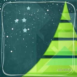 Creative glossy Xmas Tree and hanging stars on green background for Merry Christmas celebration.