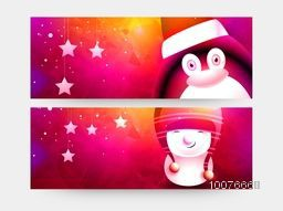 Creative shiny website header or banner set with cute penguin and snowman for Merry Christmas celebration.
