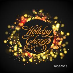Stylish text Holiday Cheers in glowing frame for Merry Christmas Celebration.