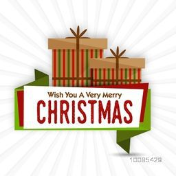 Creative sticky design with gift boxes for Merry Christmas celebration.