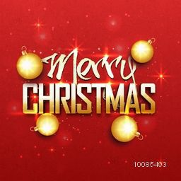Stylish Text Merry Christmas with Golden Balls on red background.