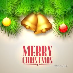 Elegant greeting card design with Golden Jingle Bells, Glossy Balls and Fir Tree Branches decoration for Merry Christmas celebration.