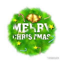 Stylish Text Merry Christmas with golden jingle bells and other ornaments on fir tree branches.