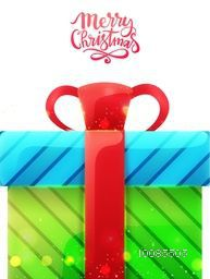 Creative gift box on white background for Merry Christmas celebration.