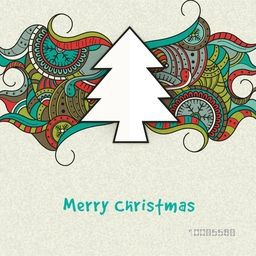Merry Christmas celebration greeting card with creative white Xmas Tree on colorful floral decorated background.