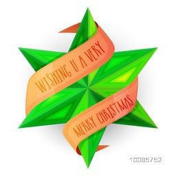 Glossy green star with ribbon on white background for Merry Christmas celebration.