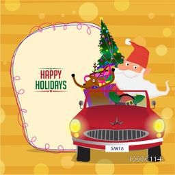 Santa Claus with reindeer in red car full of gifts for Happy Holidays or Merry Christmas celebration.