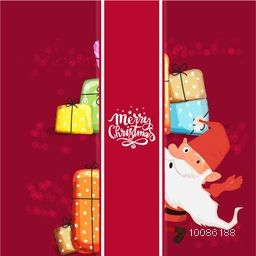 Santa Claus with colorful gift boxes behind a stripe, Greeting Card design for Merry Christmas celebration.