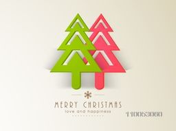Christmas celebration with holly tree and stylish text of Merry Christmas, love and Happiness.