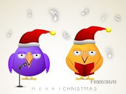 Christmas celebration with purple and orange cartoon bird reading jingle and stylish text of Merry Christmas.
