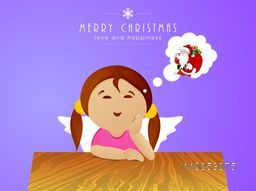 Cute cartoon girl thinking about Santa Claus with stylish text of Merry Christmas and Love and Happiness on blue background.
