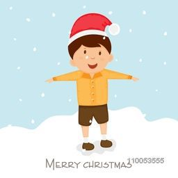 Merry Christmas celebration poster, greeting card or invitation card with little cute boy extending his arms while standing on snow.