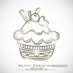 Cup cake for Merry Christmas celebration on stylish background