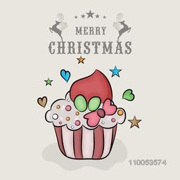 Merry Christmas celebration poster, banner or flyer with colorful cup cake on grey background.