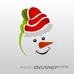 Smiling snowman face on torn paper design for Merry Christmas celebration.
