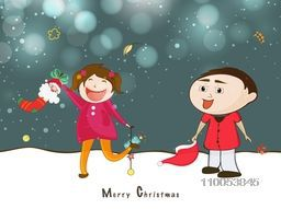 Little cute kids playing and holding christmas object on winter background for Merry Christmas celebration.