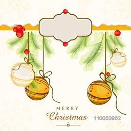 Merry Christmas celebrations greeting card design with hanging Xmas ball, mistletoe, fir leaves and space for your message on floral decorated background.