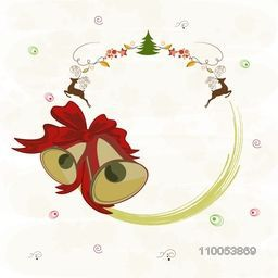Merry Christmas celebrations greeting card design with free space for your message, jingle bells, reindeer and Xmas tree on stylish background.