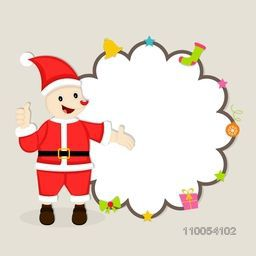 Cute cartoon of a Santa Claus showing blank stylish frame which decorated by christmas object for Christmas and other occasion.