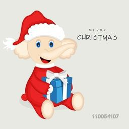 Cute cartoon of a elephant wearing Santa dress with gift box for Merry Christmas celebration on grey background, can be use as poster, flyer or banner.