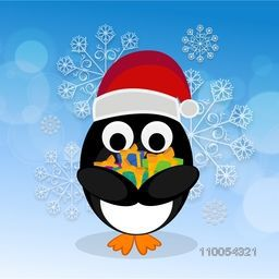 Cute penguine wearing Santa's cap holding gifts in hand on floral decorated background.