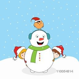 Cute smiling snowman with headphone, little cute kids in Santa cap and love bird standing over snowman head on winter background.