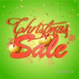 Christmas Sale poster, banner or flyer design decorated with golden balls, snowflakes and confetti.