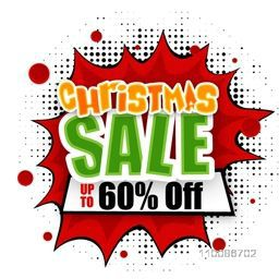 Christmas Sale with 60% Discount Offer. Creative sticker or label design on  pop art explosion background.