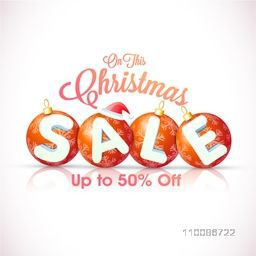 Christmas Sale Poster, Banner, Flyer or Pamphlet with Xmas Balls, Santa Cap and 50% Discount Offer, Vector illustration.