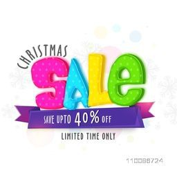 Sale poster, template or flyer with colorful text Sale and discount offer upto 40% for Merry Christmas celebration.