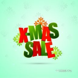 Creative X-Mas Sale poster, template or flyer design on snowflakes decorated background for Merry Christmas celebration.