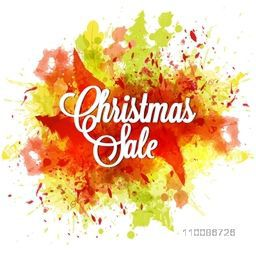 Christmas Sale poster, banner or flyer design with colorful splash.