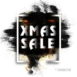 Christmas Sale poster, banner or flyer design with abstract brush strokes.
