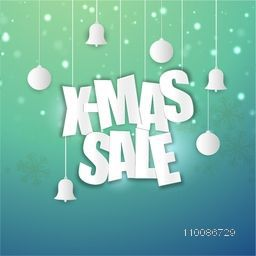 X-Mas Sale banner or flyer design with hanging ornaments on glossy background.