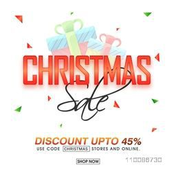 Christmas Sale with Discount upto 45%, Creative poster, banner or flyer design.
