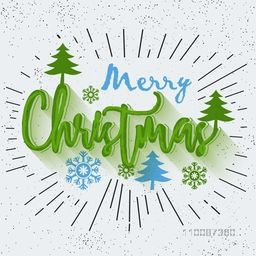 Merry Christmas lettering design with xmas tress and snowflakes, Creative abstract background with burst.