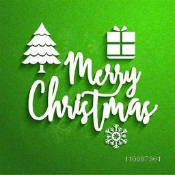 Stylish White Text Merry Christmas with Xmas Tree, Gift Box and Snowflake on grungy green background.