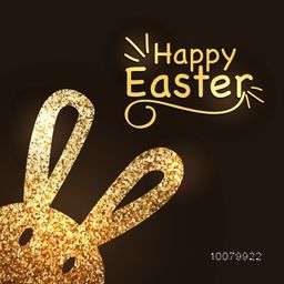 Elegant greeting card design with cute Bunny, made by golden glitter for Happy Easter celebration.