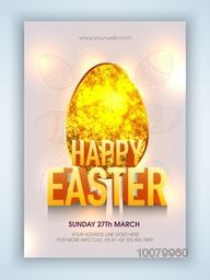 Sparkling gold glitter Egg with 3D text Happy Easter, can be used as Pamphlet, Banner or Flyer design.