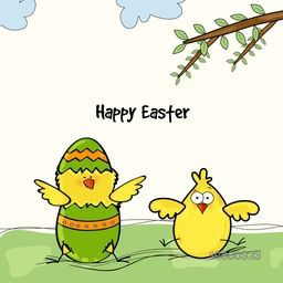 Cute chicks on nature background for Happy Easter celebration.