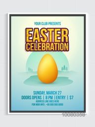 Creative Invitation Flyer with illustration of Golden Egg on nature background for Happy Easter celebration.