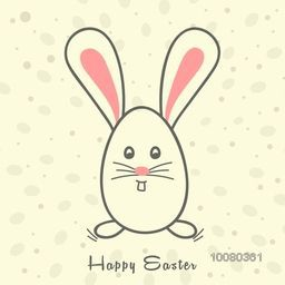 Cute Bunny in egg shape for Happy Easter celebration.
