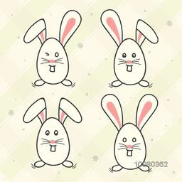 Set of four different Bunny faces in egg shape for Happy Easter celebration.