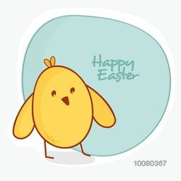 Elegant greeting card design with cute chick for Happy Easter celebration.