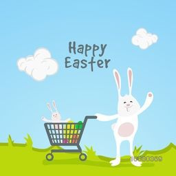 Happy Easter celebration concept with illustration of cute Bunny taking colorful eggs in shopping cart on nature background.